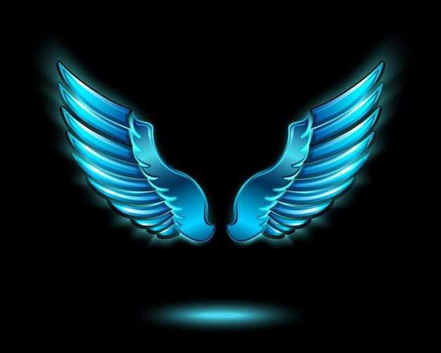 金属光沢と影のシンボルのベクトル図と青い光る天使の翼 無料ベクター