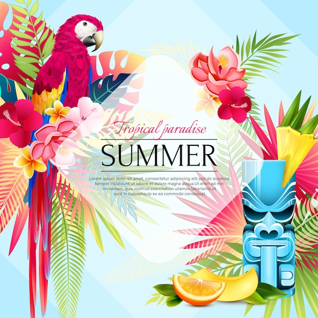 夏の熱帯の楽園の背景 無料ベクター