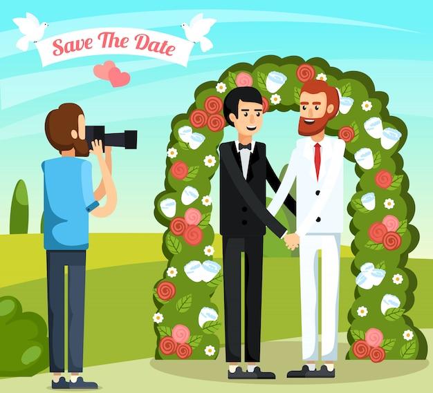平らな結婚式の人々直交組成 無料ベクター