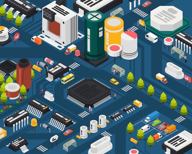 着色された半導体電子部品等尺性都市コンセプトさまざまな要素を組み合わせた都市 無料ベクター