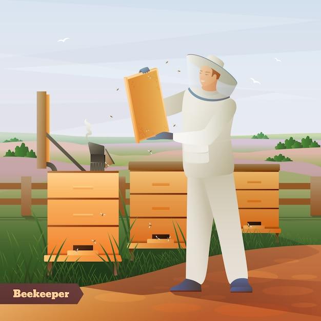 養蜂家フラットコンポジション 無料ベクター