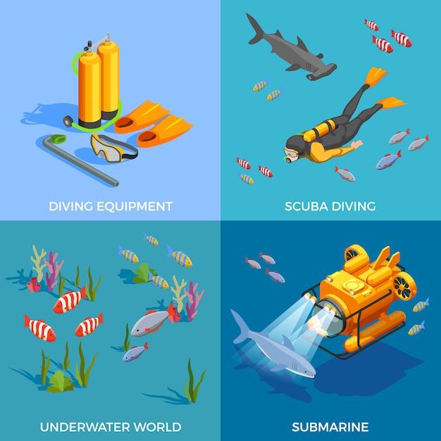Концепция дизайна подводного плавания Бесплатные векторы