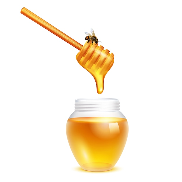 白い背景の上のガラスの瓶現実的なデザインコンセプトのミツバチとひしゃくの棒から滴る蜂蜜 無料ベクター