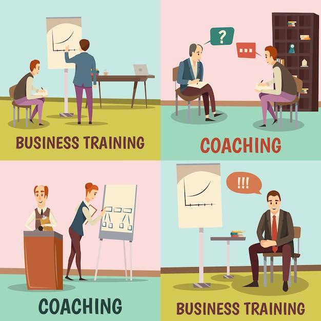 コーチングの概念アイコンセットビジネストレーニングシンボルフラット分離 無料ベクター