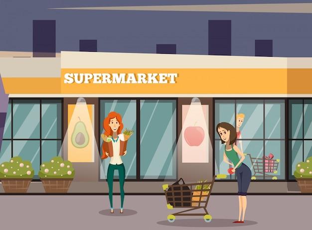 スーパーマーケットの建物の背景 無料ベクター