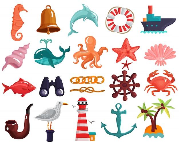航海要素と海の生物コレクション 無料ベクター