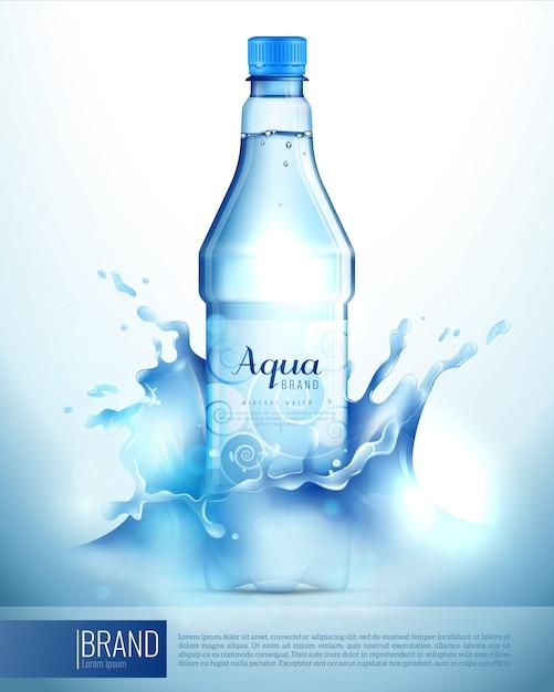 水しぶきでプラスチック製の瓶ポスター 無料ベクター