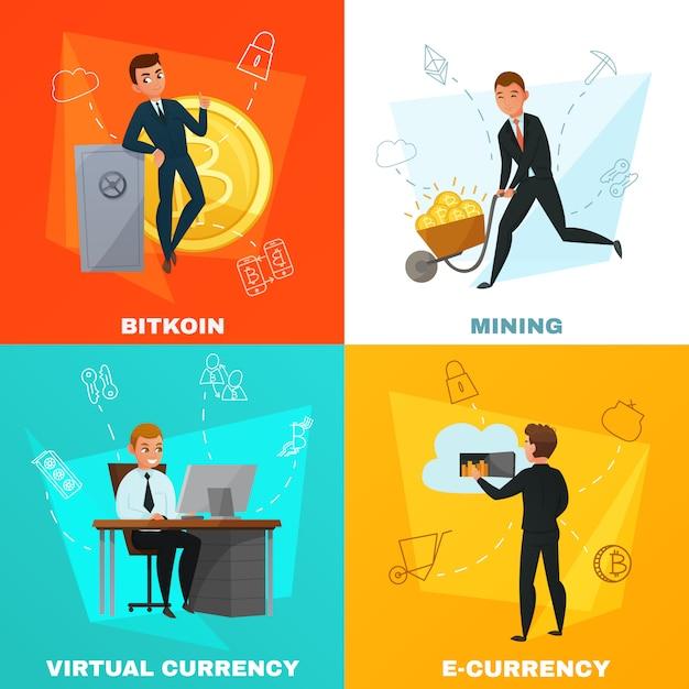 Концепция криптовалюты биткойн Бесплатные векторы