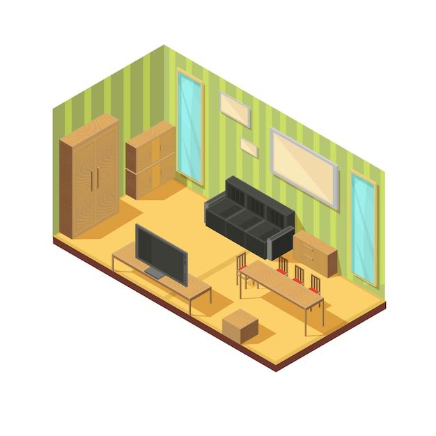 リビングルームの等尺性家具構成 無料ベクター