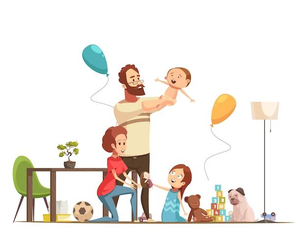 Молодая семья с детьми дома играет с плакатом мультфильма мальчика и маленькой девочки ретро Бесплатные векторы