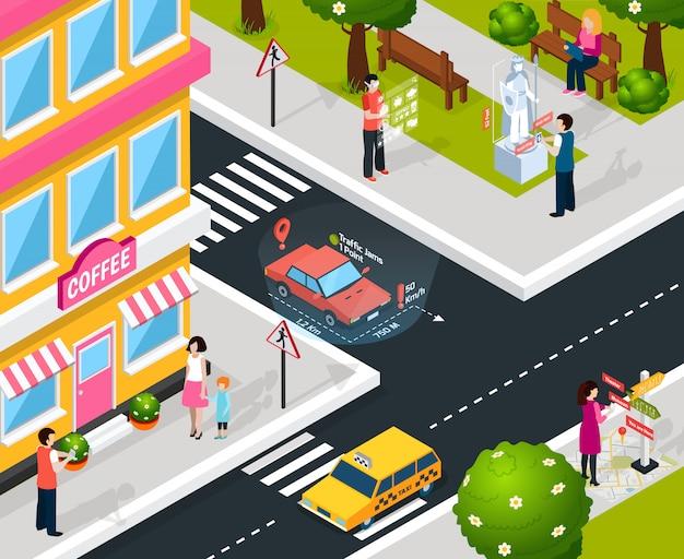バーチャル拡張現実感都市構成 無料ベクター