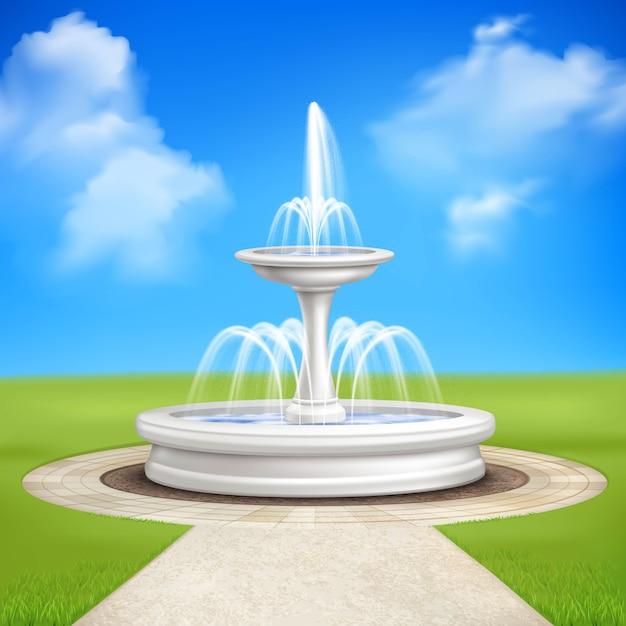 庭のヴィンテージの組成の噴水 無料ベクター