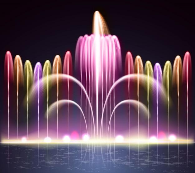 光の噴水現実的な夜背景 無料ベクター