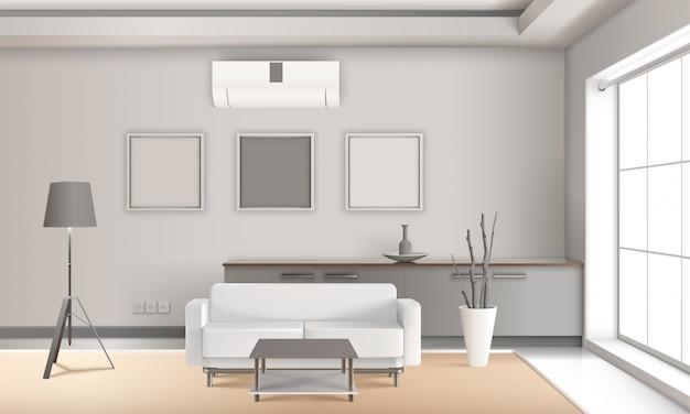 Реалистичный интерьер салона в светлых тонах Бесплатные векторы