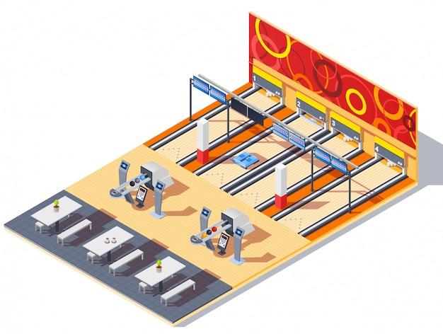 ボウリングセンター等尺性インテリア 無料ベクター