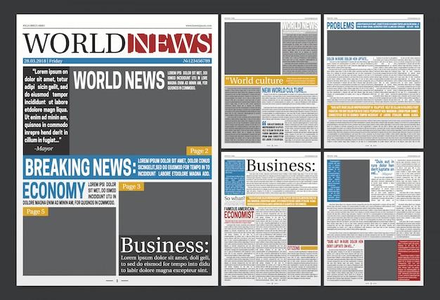 Газетный заголовок шаблона реалистичный плакат Бесплатные векторы