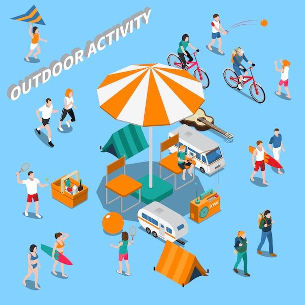 Лето активный отдых люди композиция Бесплатные векторы