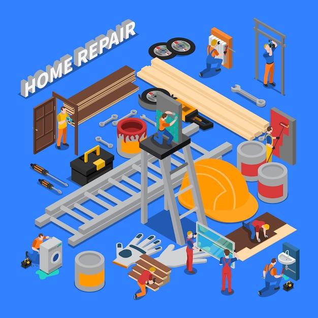 Ремонт дома состав Бесплатные векторы
