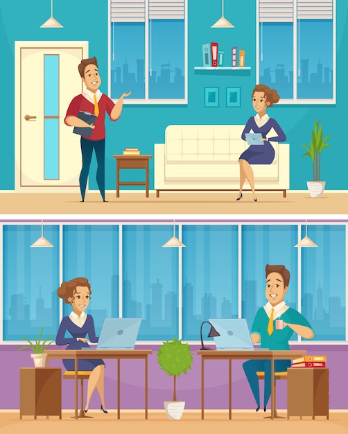 Знамена мультфильма офисного работника Бесплатные векторы