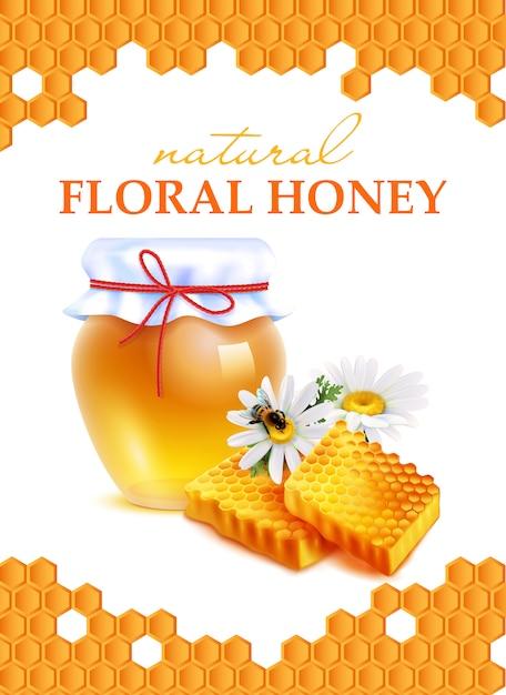 Натуральный цветочный мед реалистичный плакат Бесплатные векторы