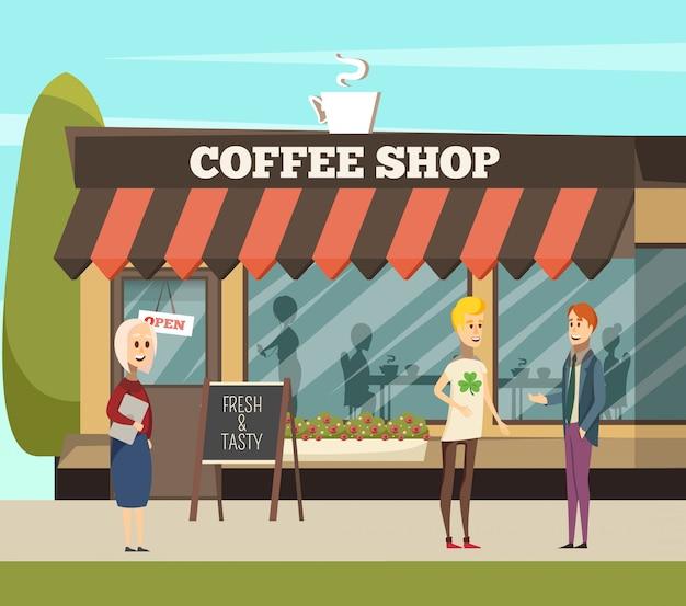 コーヒーショップの図 無料ベクター