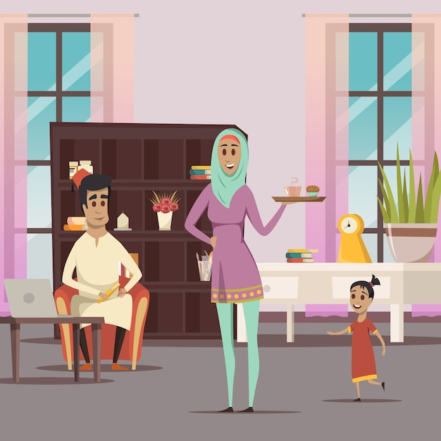 Арабская женщина и семейный фон Бесплатные векторы