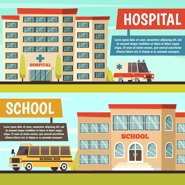 Набор цветных муниципальных зданий баннер Бесплатные векторы