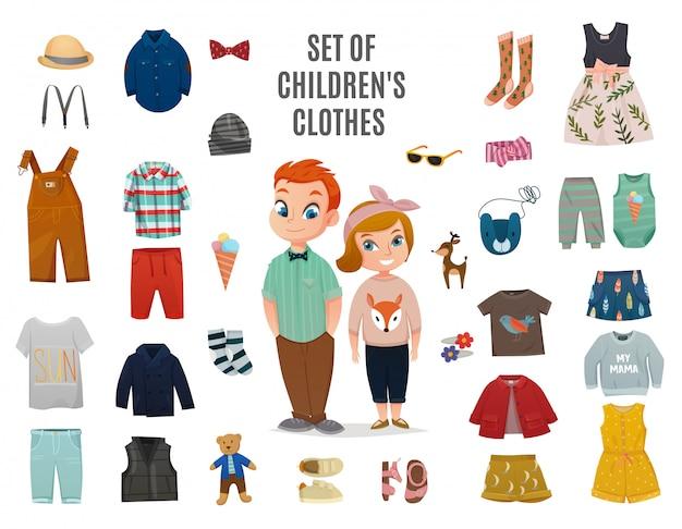 子供ファッションの大きなアイコンセット 無料ベクター