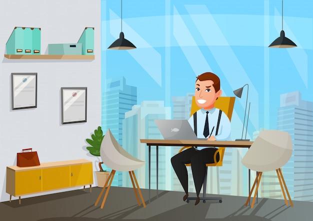 男のオフィスの図 無料ベクター