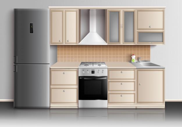 Современная кухня, интерьер, композиция Бесплатные векторы