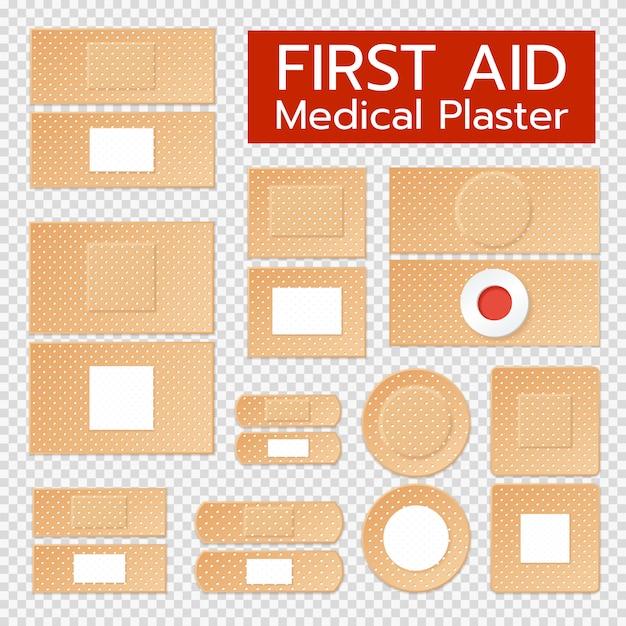 Набор реалистичных медицинских пластырей Бесплатные векторы