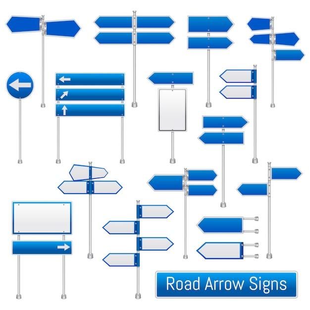 道路矢印標識現実的なセット 無料ベクター