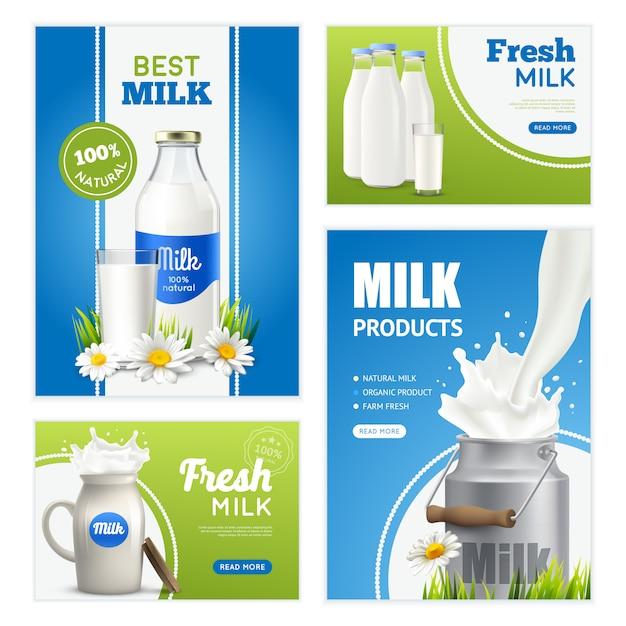 Коллекция баннеров свежего молока Бесплатные векторы