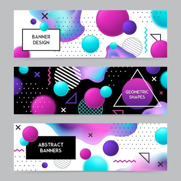 幾何学的図形のバナーの背景セット 無料ベクター
