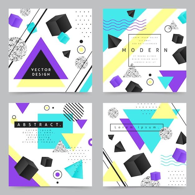 幾何学的図形の背景バナーセット 無料ベクター