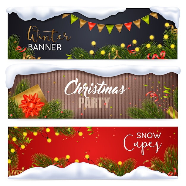 Набор рождественских баннеров Бесплатные векторы