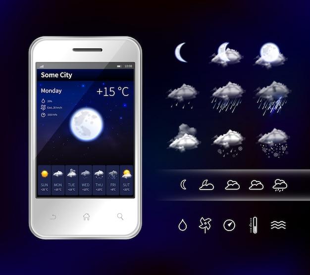 Смартфон мобильный погода реалистичное изображение Бесплатные векторы