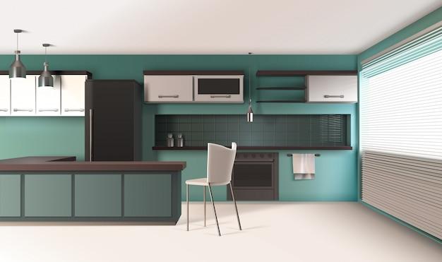 現代的なキッチンのインテリア構成 無料ベクター