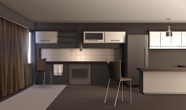 現実的なスタイルのアパートキッチン 無料ベクター