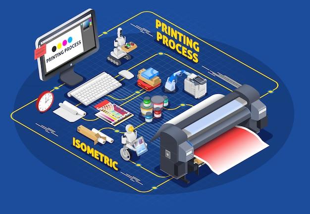 Процесс печати изометрическая композиция Бесплатные векторы