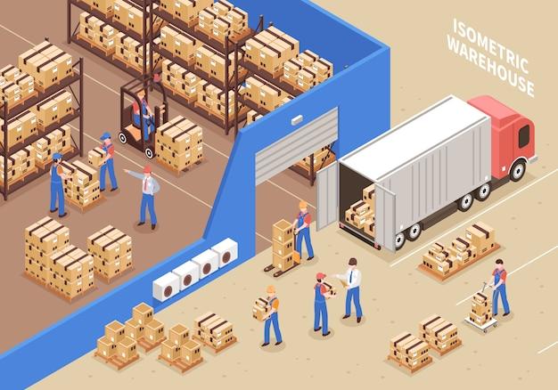 物流と倉庫の図 無料ベクター
