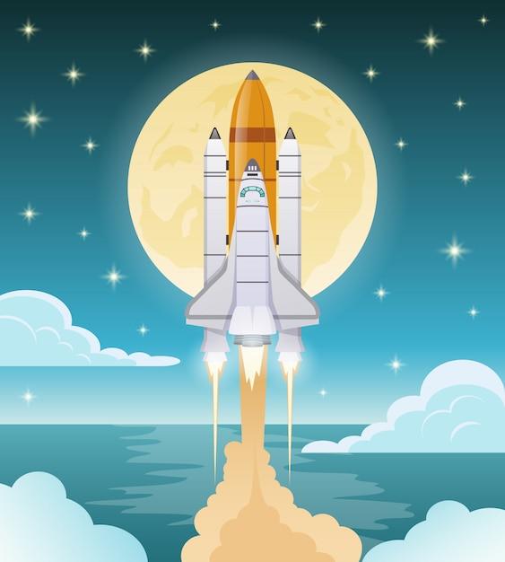 Иллюстрация освоения космоса Бесплатные векторы