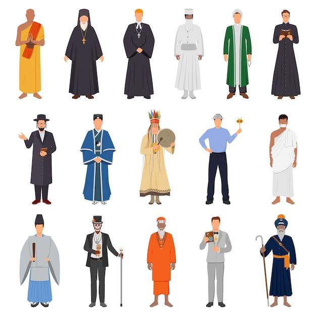 世界の宗教的な人々セット 無料ベクター