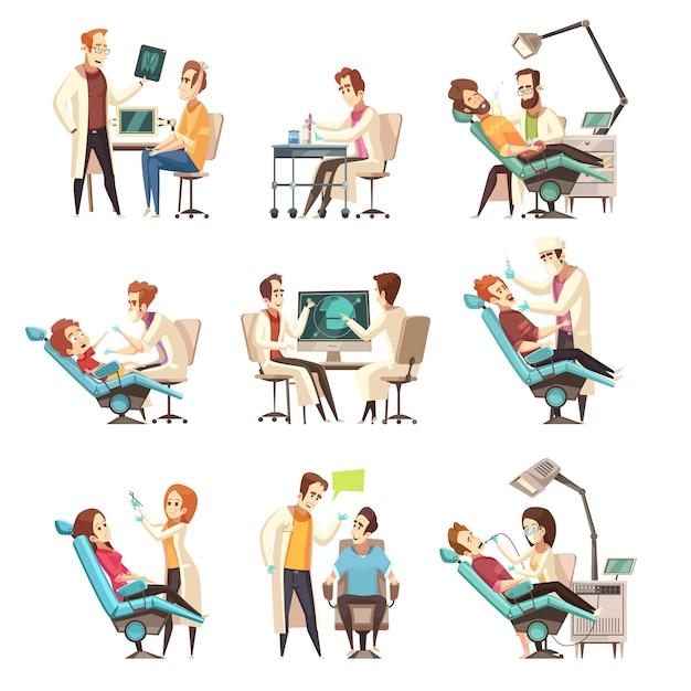 Набор сцен стоматологии Бесплатные векторы