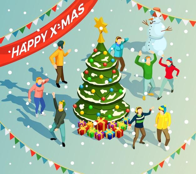 Изометрические рождество иллюстрация Бесплатные векторы