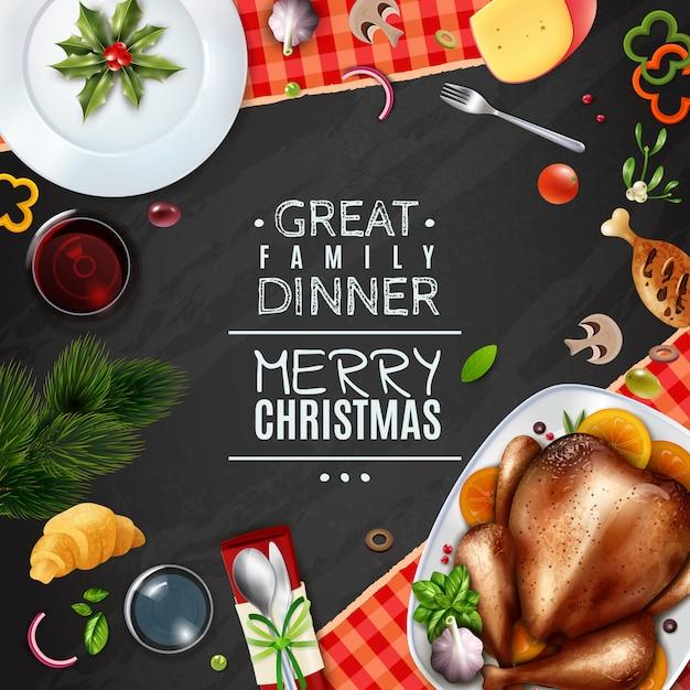 現実的なトルコの感謝祭のクリスマスフレーム 無料ベクター