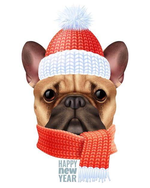 Реалистичная собака бульдог рождество иллюстрация Бесплатные векторы