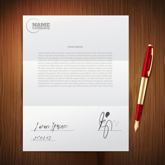 Бизнес ручка набор бумаги Бесплатные векторы