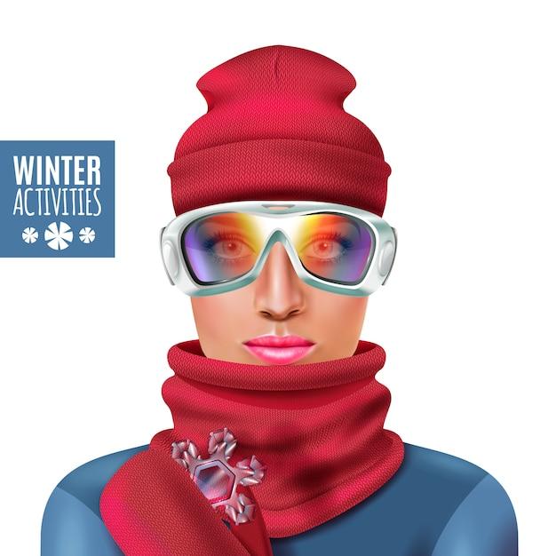スキースーツ冬女イラスト 無料ベクター