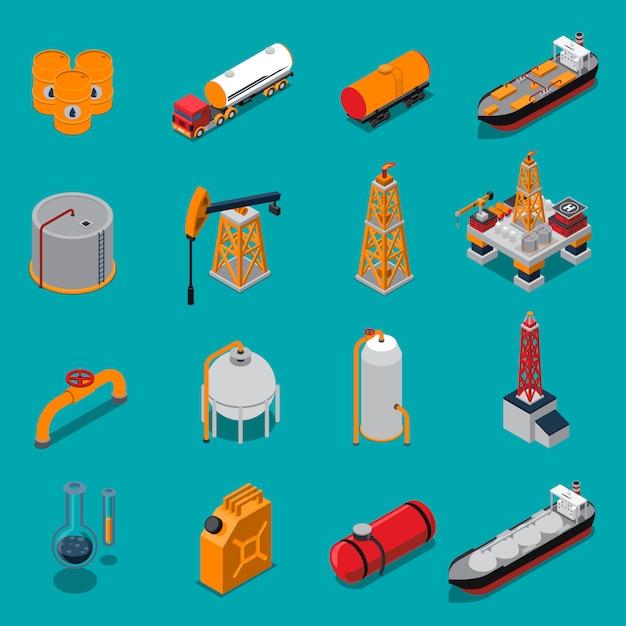 石油とガスの等尺性セット 無料ベクター